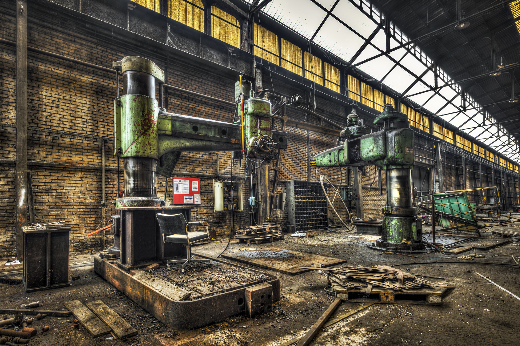 Huge radial drills in an abandoned factory